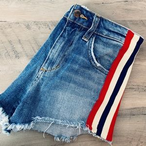 Joe's Jeans red white blue side cut off shorts 24